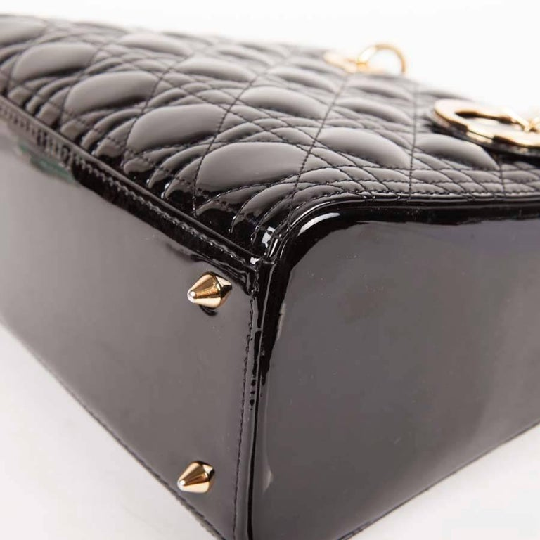 Christian Dior Black Quilted Patent Leather Lady Dior Bag  For Sale 5