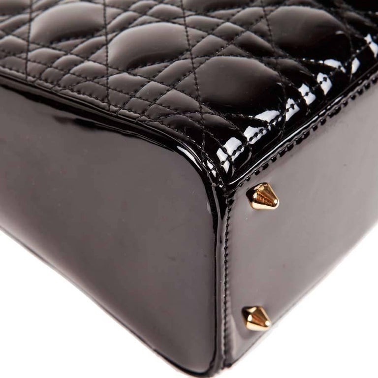 Christian Dior Black Quilted Patent Leather Lady Dior Bag  For Sale 6