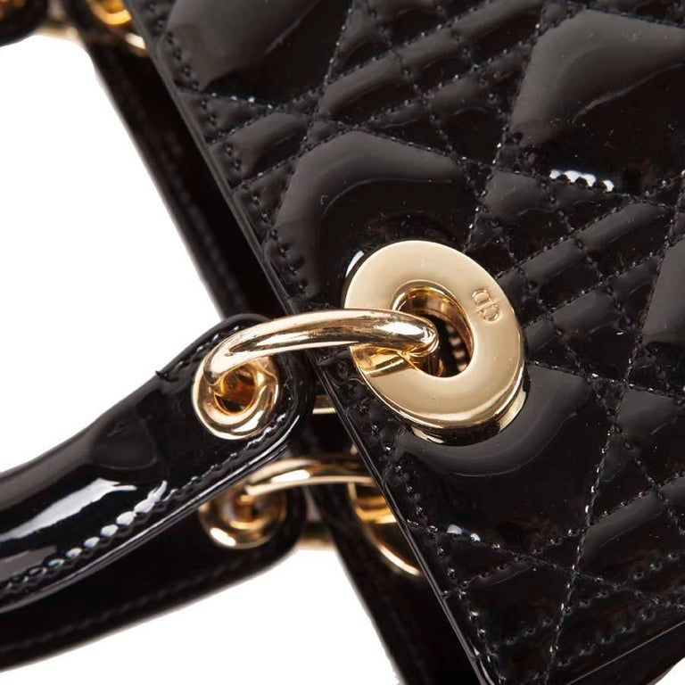 Christian Dior Black Quilted Patent Leather Lady Dior Bag  For Sale 7
