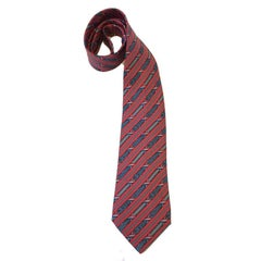 HERMES Vintage Tie in Pink and Gray Printed Silk