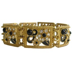 JACQUES FATH Choker Necklace in Gilded Metal, Black Resin and Rhinestones