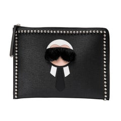 FENDI Clutch 'Karlito' in Black Calf Leather and Mink Fur