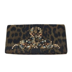 YVES SAINT LAURENT Rive Gauche Clutch in Leopard Printed Satin and Rhinestones