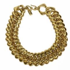 YVES SAINT LAURENT Vintage knit Necklace in Gilded Metal