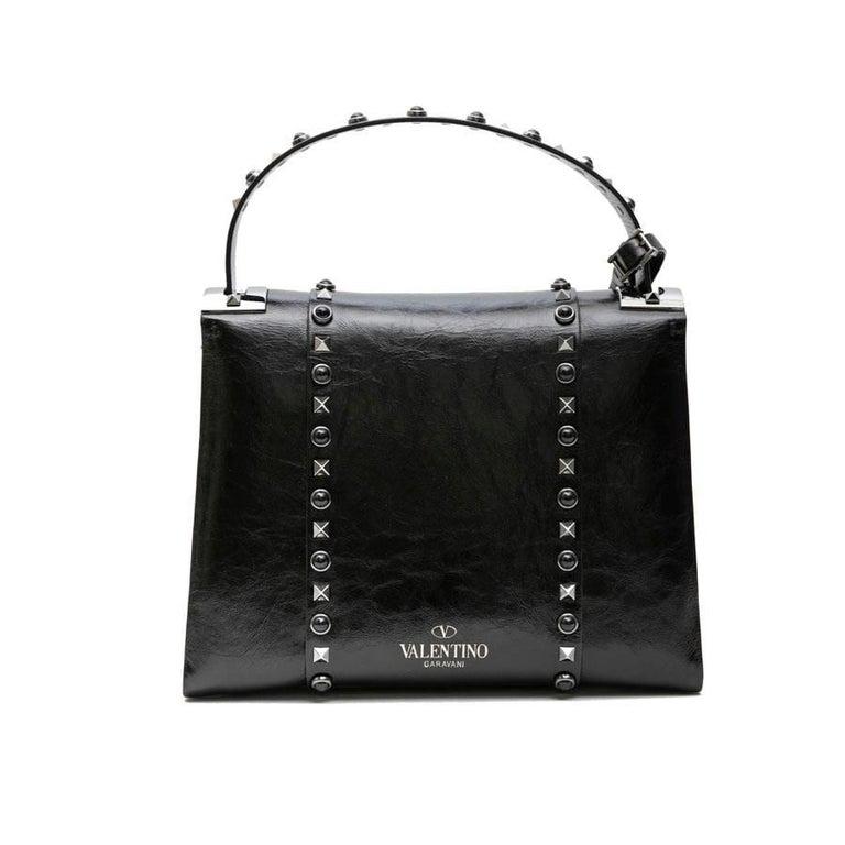 Women's VALENTINO Bag in Aged Semi Matte Black Leather For Sale
