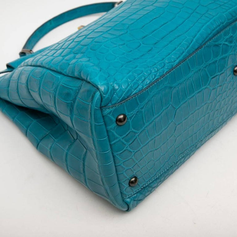 Fendi Turquoise Blue Crocodile Leather Kaboo Bag For 1
