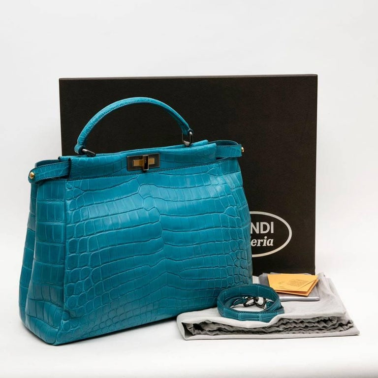 Fendi Turquoise Blue Crocodile Leather Kaboo Bag For 10