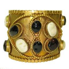 Marguerite de Valois Aged Gilt Metal and Molten Glass Cabochons Cuff Bracelet