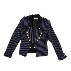 Balenciaga Navy Blue Cotton Jacket with White Stripes