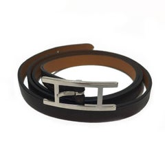 HERMES 'Hapi' 3 Multi Tour Bracelet in Dark Brown Leather