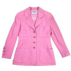 CHANEL Jacket in Pink Tweed Wool Size 38FR