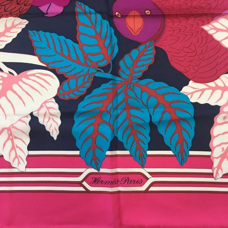 Women's HERMES Large Scarf 'Les Perroquets' in Pink, Navy and Blue Silk For Sale