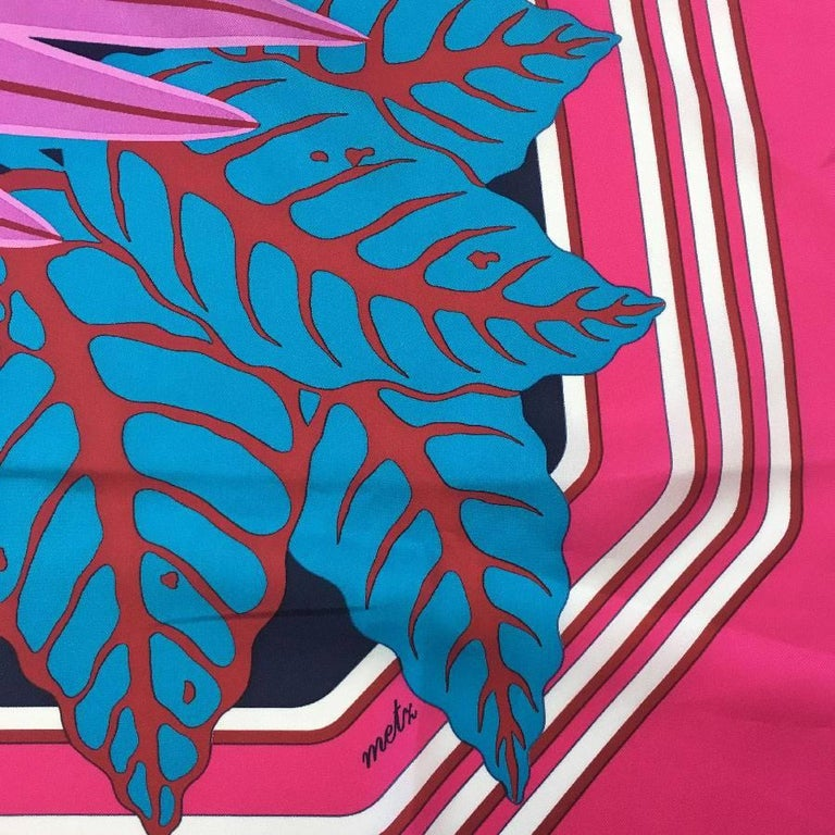 HERMES Large Scarf 'Les Perroquets' in Pink, Navy and Blue Silk For Sale 1