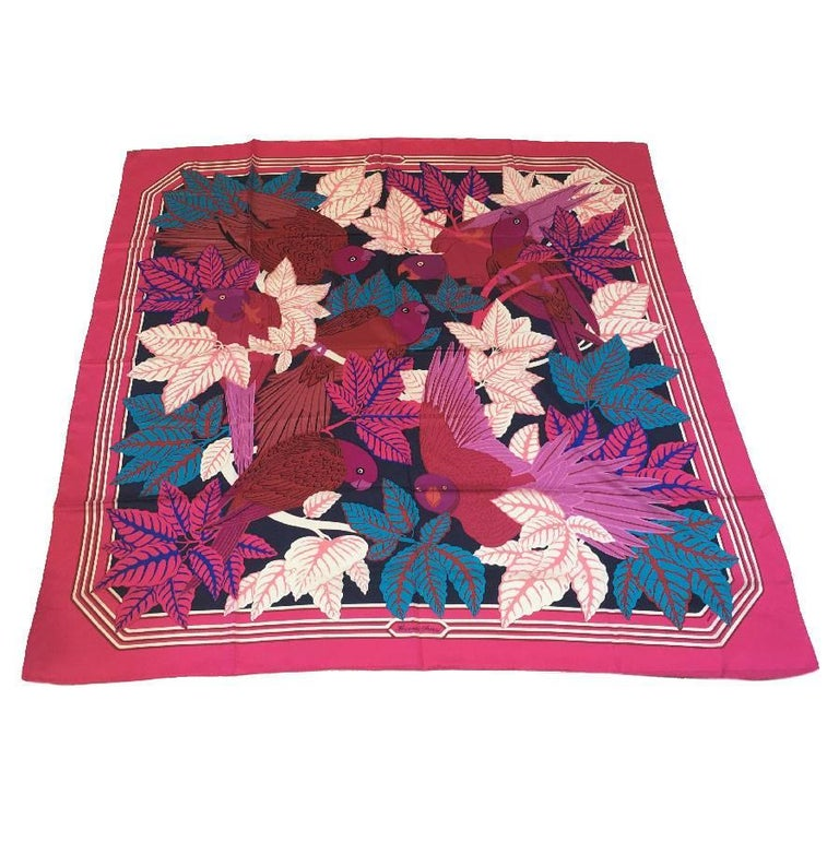 HERMES Large Scarf 'Les Perroquets' in Pink, Navy and Blue Silk For Sale
