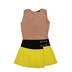 Gucci Camel Black and Yellow Silk Dress