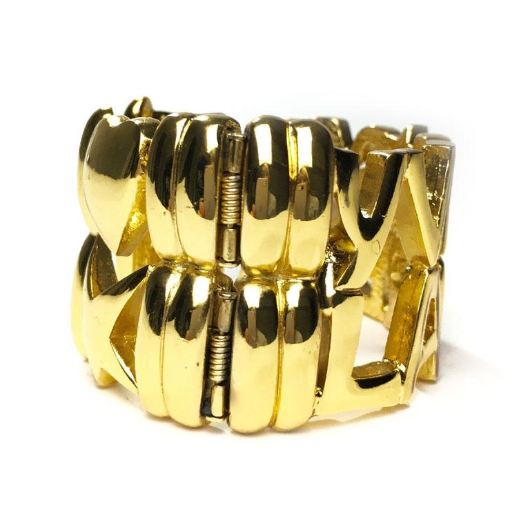 6ce588f24a2 YSL YVES SAINT LAURENT Vintage Cuff Bracelet in Gilt Metal For Sale 1