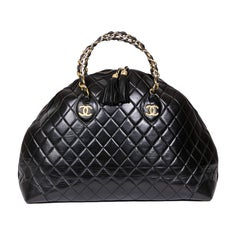 62ea1646a5d3 CHANEL Vintage Large Tote Bag in Black Quilted Lamb Leather