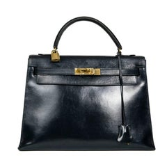 HERMES Kelly 32 Vintage Bag in Navy Blue Box Leather