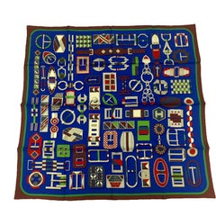 HERMES Scarf 'Carré en Boucles' in Royal Blue, Burgundy and Green Silk