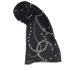 CHANEL Long Scarf in Black Chiffon with Pearls Pattern