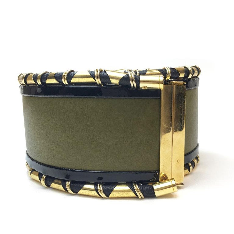 Black BALMAIN High Waist Belt in Khaki Leather and Golden Metal Tubes Size 40 For Sale