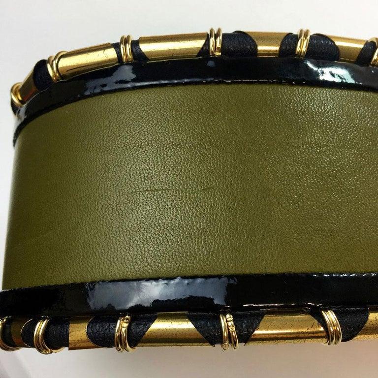 Women's BALMAIN High Waist Belt in Khaki Leather and Golden Metal Tubes Size 40 For Sale