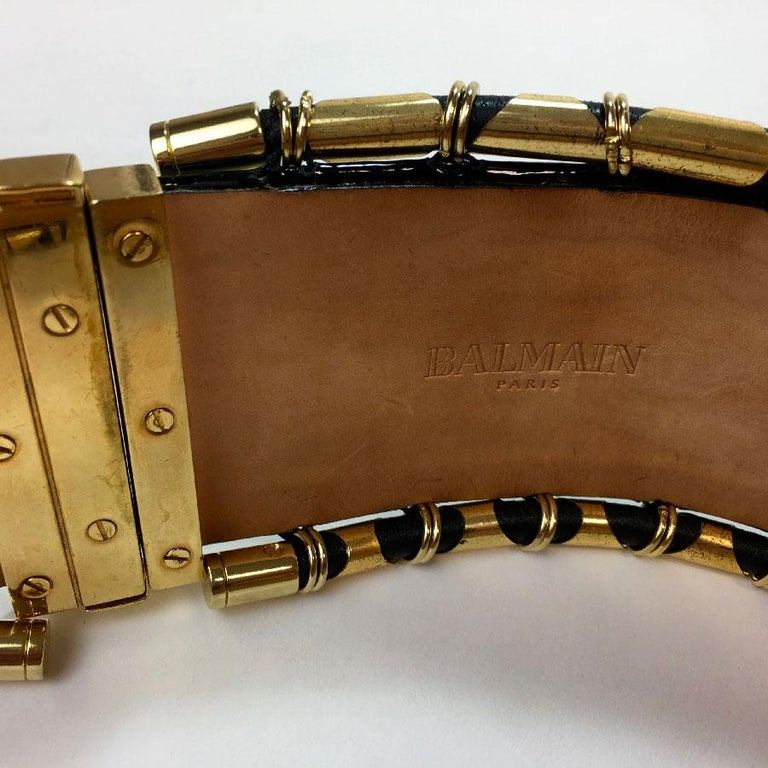 BALMAIN High Waist Belt in Khaki Leather and Golden Metal Tubes Size 40 For Sale 1