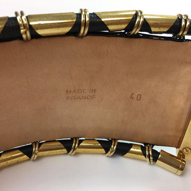 BALMAIN High Waist Belt in Khaki Leather and Golden Metal Tubes Size 40 For Sale 2