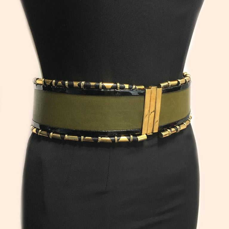 BALMAIN High Waist Belt in Khaki Leather and Golden Metal Tubes Size 40 For Sale 3