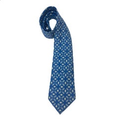 Hermes Tie in Blue Silk