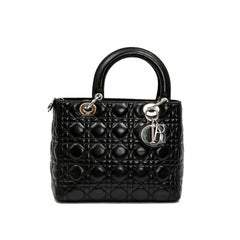 CHRISTIAN DIOR 'Lady D' Bag in Black Lambskin Leather