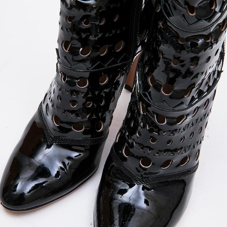 Alaia Black Patent Perforated Leather Boots  For Sale 5