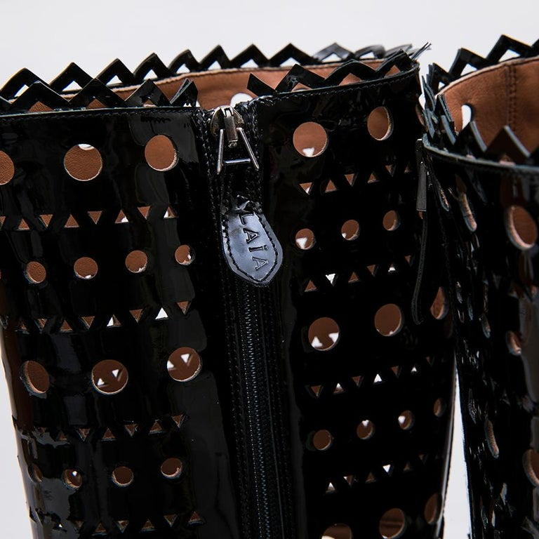 Alaia Black Patent Perforated Leather Boots  For Sale 6