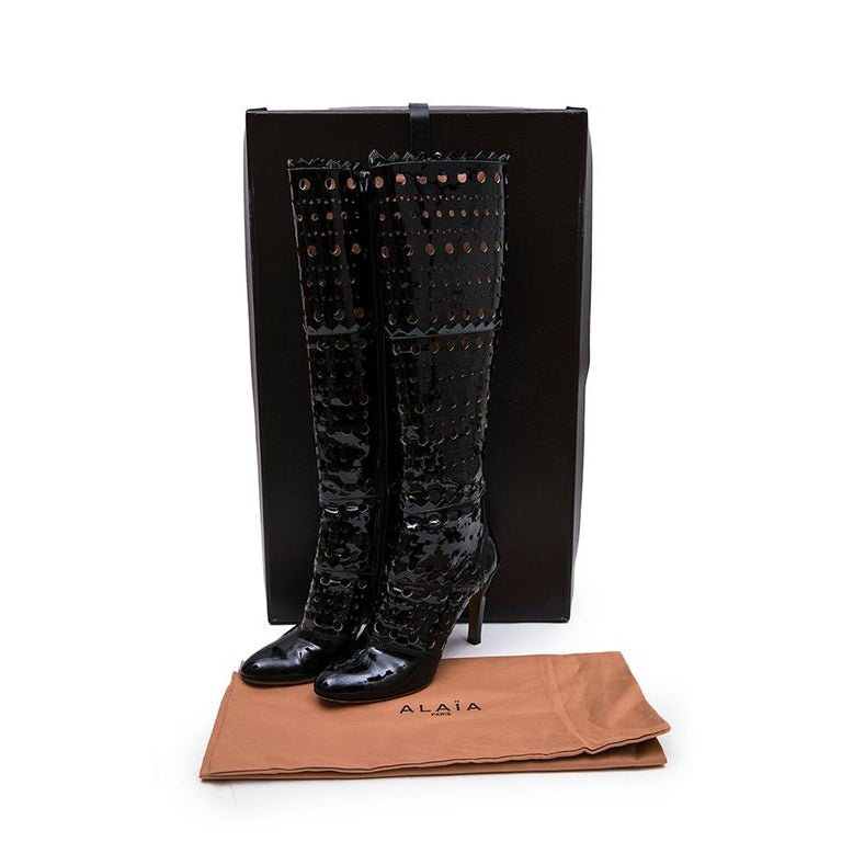 Alaia Black Patent Perforated Leather Boots  For Sale 7