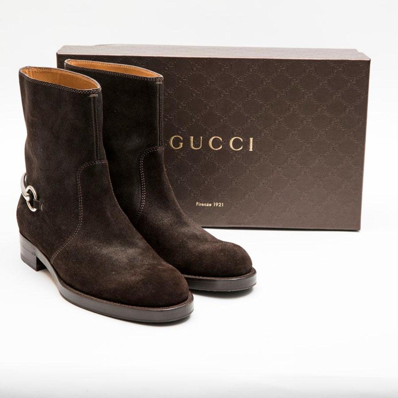 0e5da2f43 GUCCI Boots in Brown velvet Calfskin Size 39EU For Sale at 1stdibs