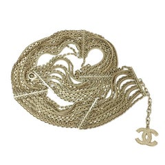 CHANEL Vintage Multi-Chains Belt in Pale Gilt Metal