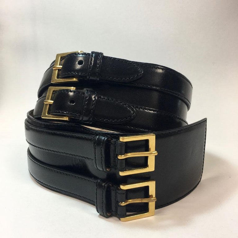 Alexander McQueen Black Leather Double Closure Belt  In Good Condition For Sale In Paris, FR