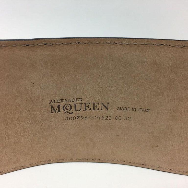 Alexander McQueen Black Leather Double Closure Belt  For Sale 2