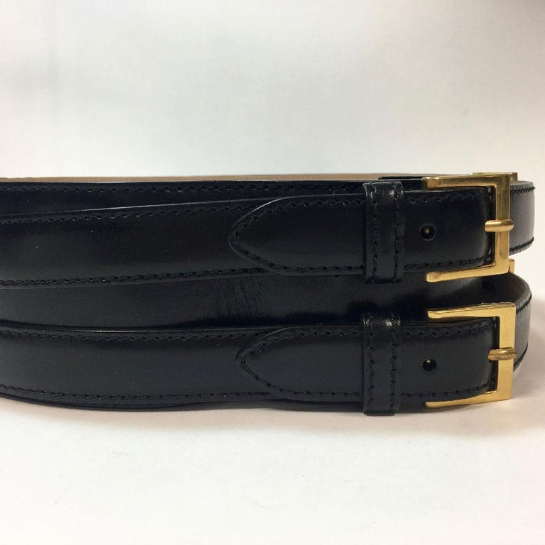 Women's Alexander McQueen Black Leather Double Closure Belt  For Sale