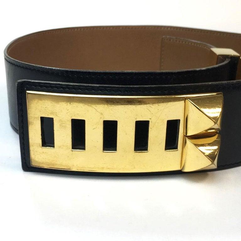 Hermes Collier de Chien Vintage Belt in Black Box Leather For Sale 1