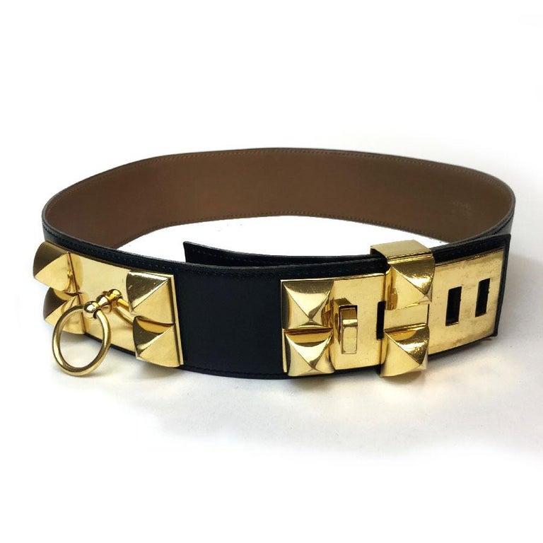 Hermes Collier de Chien Vintage Belt in Black Box Leather In Good Condition For Sale In Paris, FR