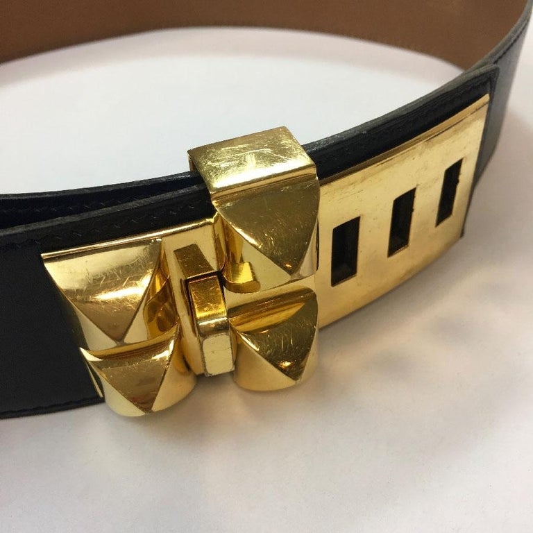 Women's Hermes Collier de Chien Vintage Belt in Black Box Leather For Sale