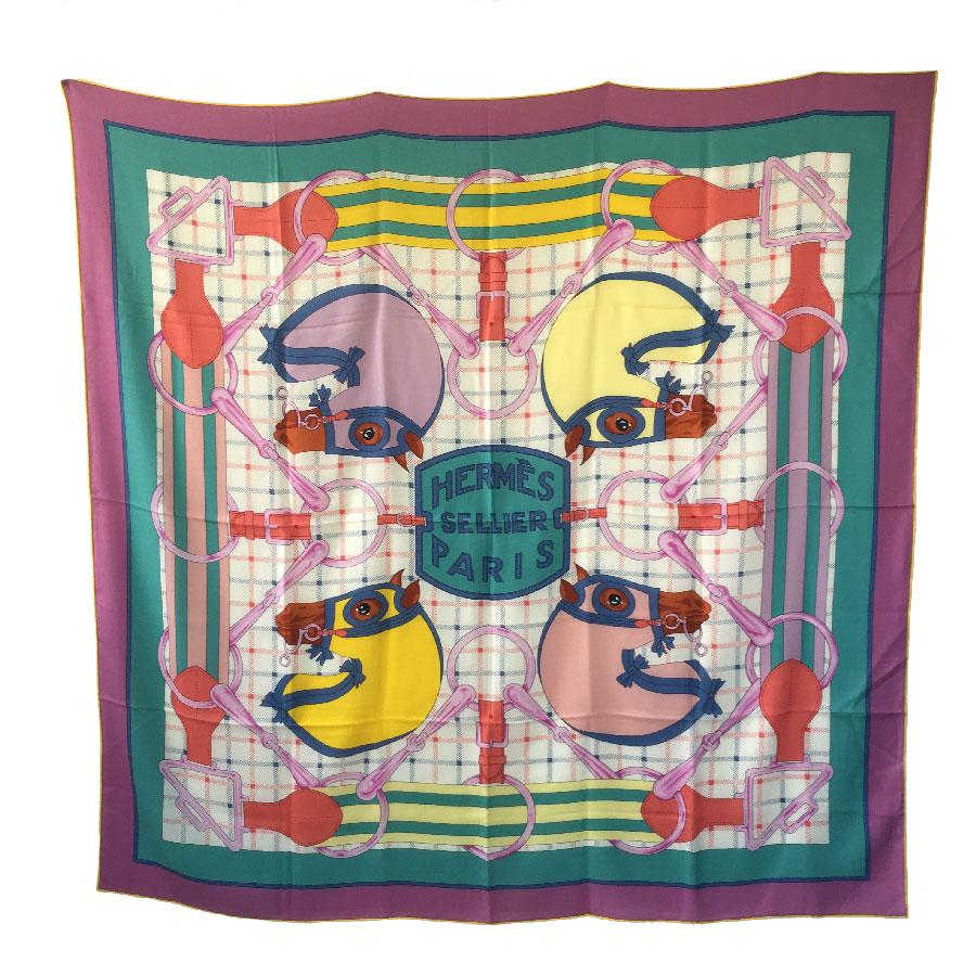 Hermes Sellier Shawl in Multicolored Cashmere and Silk