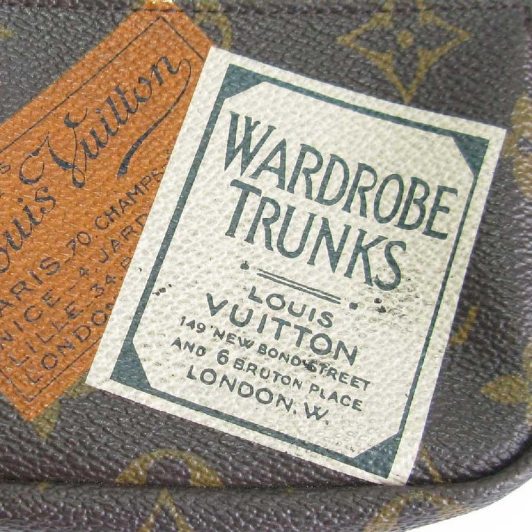 Black LOUIS VUITTON Mini Pouch 'Wardrobe Trunk' in Brown monogram Canvas For Sale