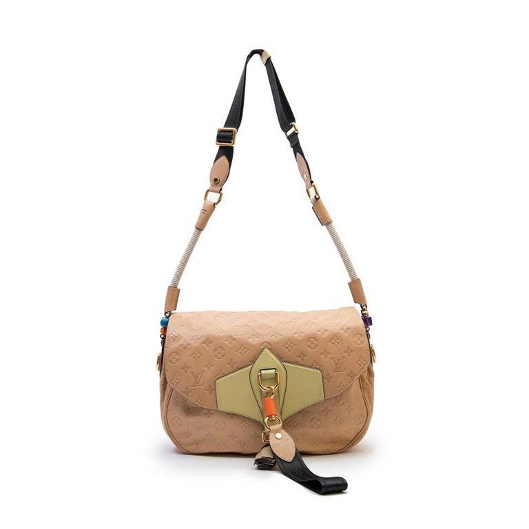 Women's Louis Vuitton Beige Monogram Empreinte Calf Leather Collector Flap Bag For Sale