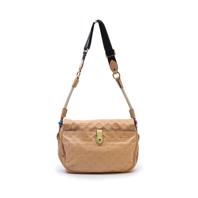 Louis Vuitton Beige Monogram Empreinte Calf Leather Collector Flap Bag For Sale 2