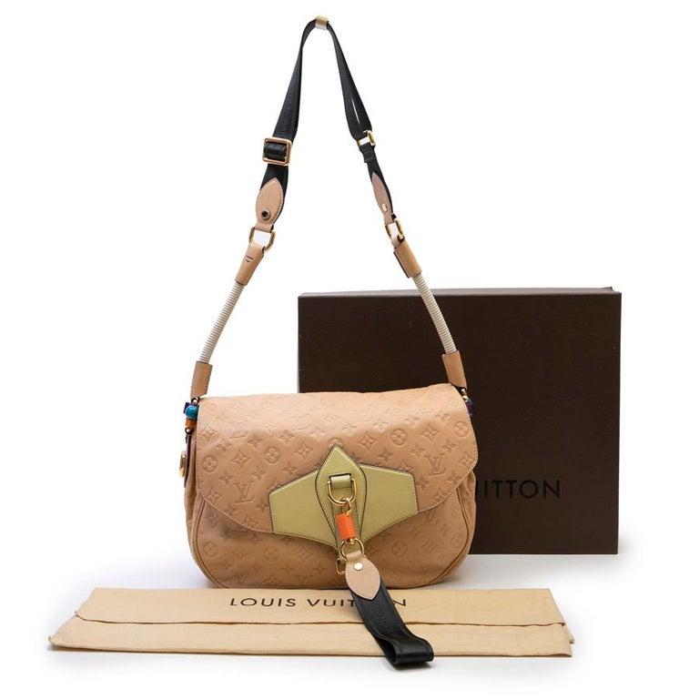 Louis Vuitton Beige Monogram Empreinte Calf Leather Collector Flap Bag For Sale 3