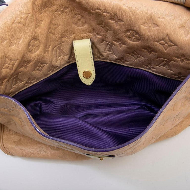 Louis Vuitton Beige Monogram Empreinte Calf Leather Collector Flap Bag For Sale 9
