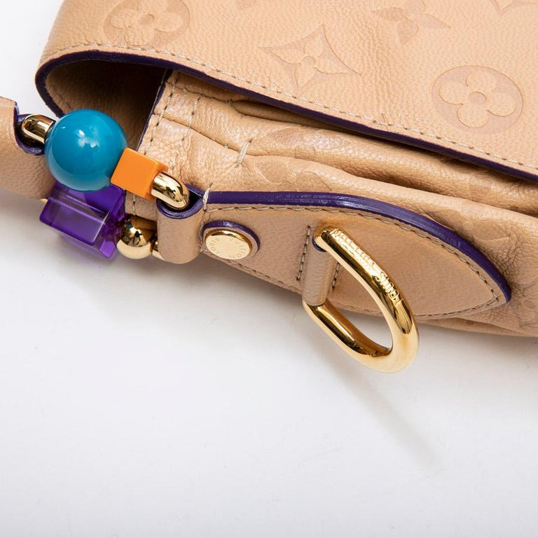 Louis Vuitton Beige Monogram Empreinte Calf Leather Collector Flap Bag For Sale 5