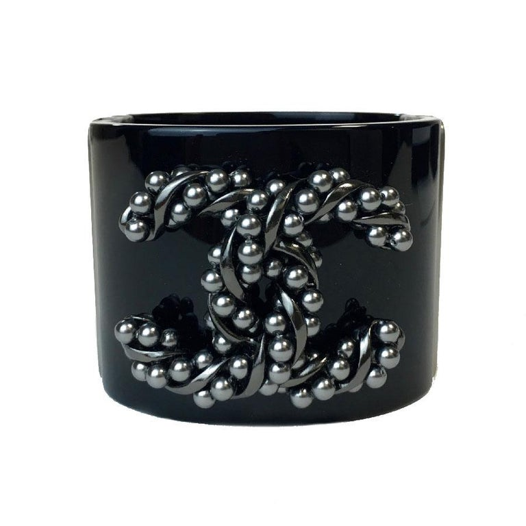 Chanel Cuff Bracelet In Black Plexigl And Cc Gunmetal Color Metal For